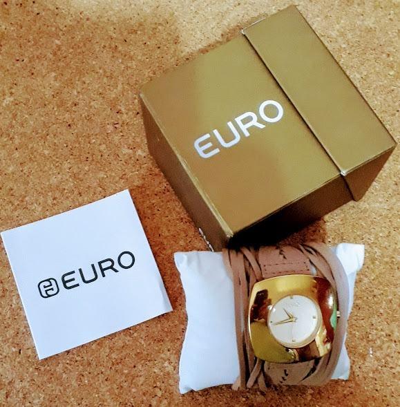 70ab7d6d88d Relógio Feminino Euro Aço Dourado Pulseira Em Couro Marrom - R  156 ...