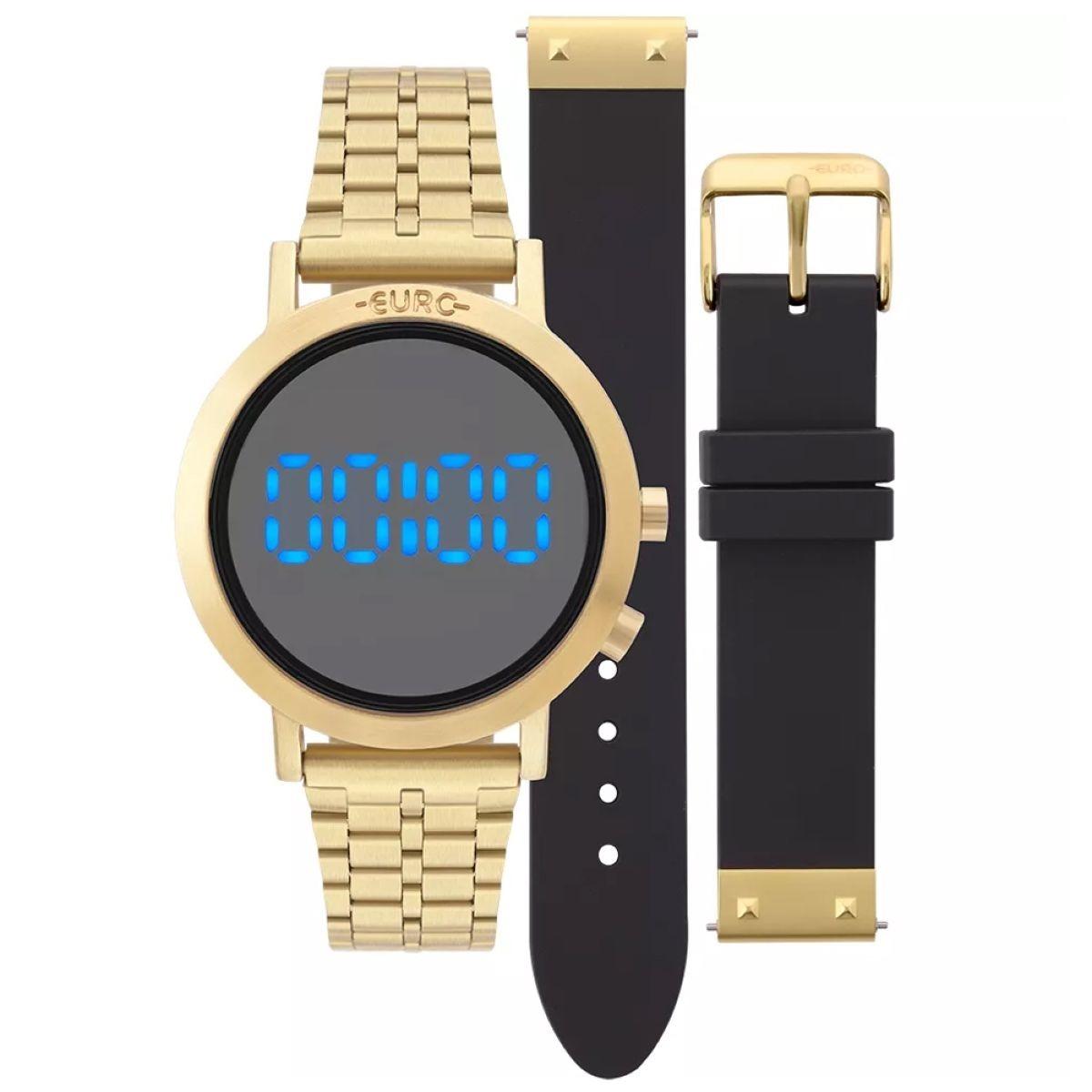 e0ae65cdb2db6 relógio feminino euro aço dourado troca pulseira silicone pr. Carregando  zoom.