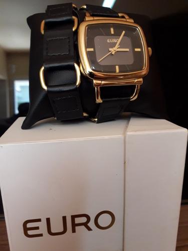 relógio feminino euro dark - pulseira couro comprida