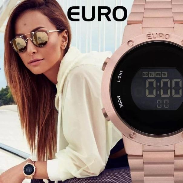 a7d8e91a028 Relógio Feminino Euro Digital Rose Gold - Eubj3279af 4j + Nf - R  267