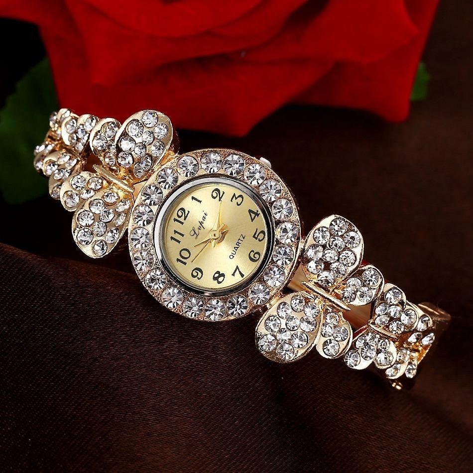 5a7754dc63e Relogio Feminino Folheado A Ouro Pedras Bracelete Borboleta - R  49 ...