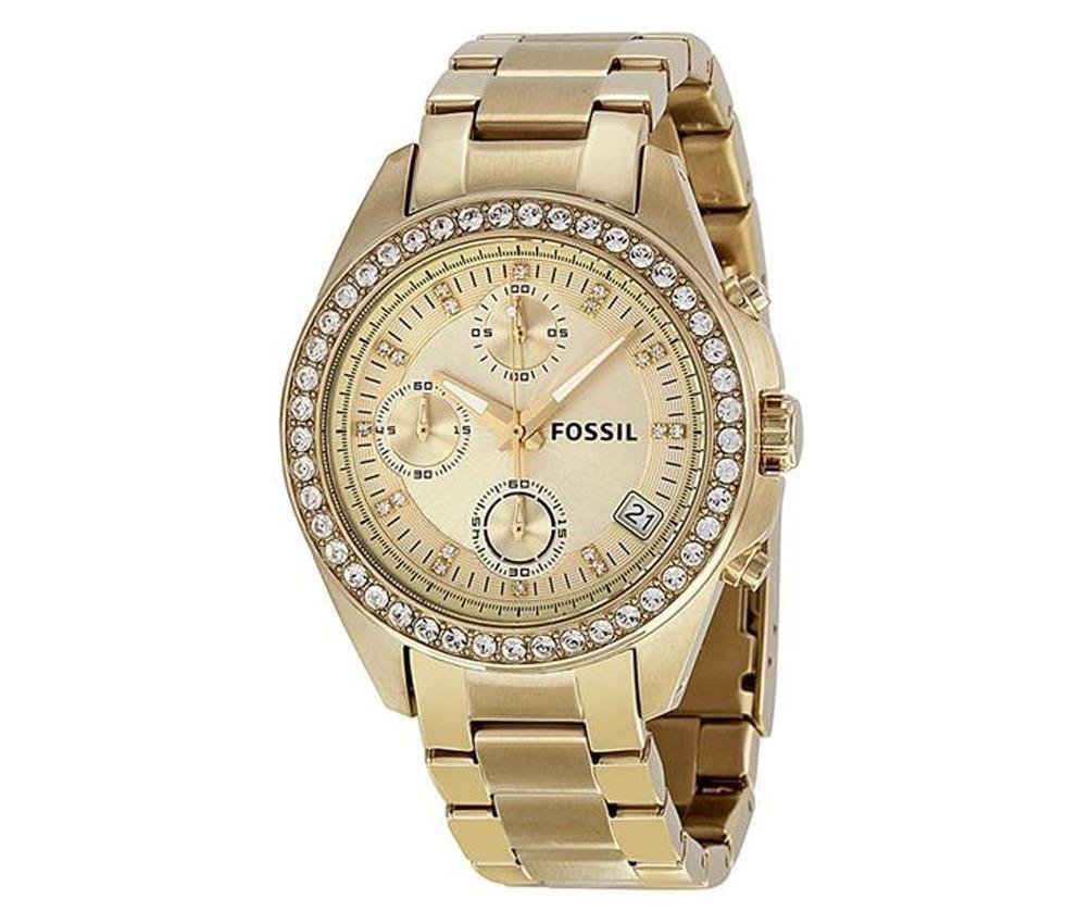 bceec572cdc relógio feminino fossil riley fes2683 z dourado com cristai. Carregando  zoom.
