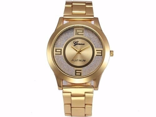 e2d60c0cbb4 Relógio Feminino Geneva Dourado Platinum Pulseira De Aço - R  59