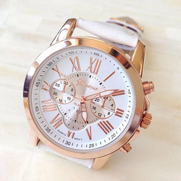 b7ba53af43a Relógio Feminino Geneva Luxo Pulseira Couro Frete Grátis - R  58