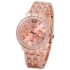 Relógio Feminino Geneva Luxury Com Strass 3 Modelos