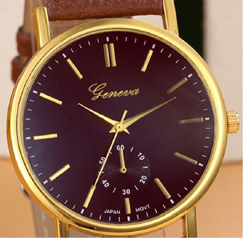 0ec8db7a94d relógio feminino geneva original pulseira de couro marrom. Carregando zoom.