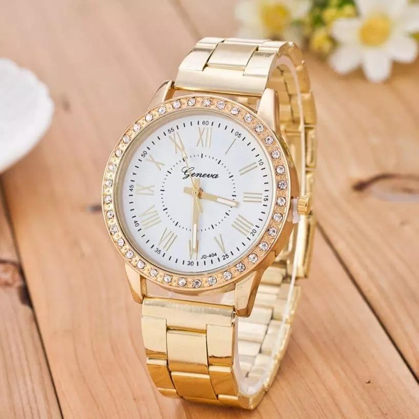 a4ae2f874f4 Relógio Feminino Geneva Ouro Rose Com Cristais Promoção - R  90