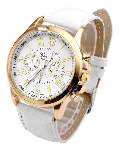 relógio feminino geneva pulseira couro frete grátis barato