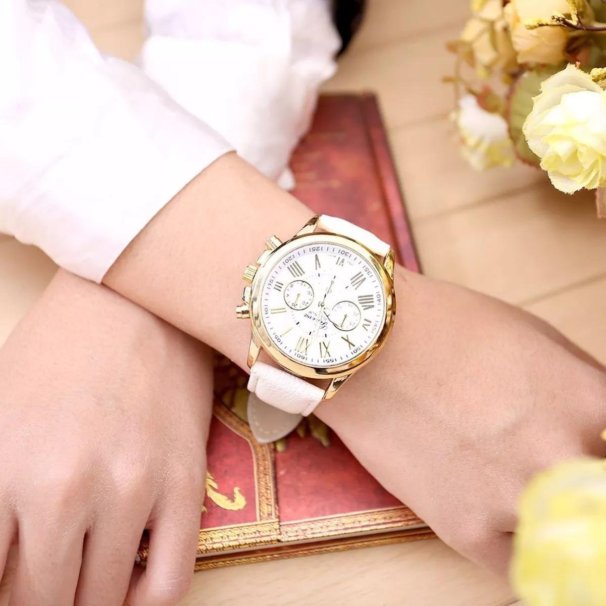 932db9589df relógio feminino geneva pulseira em couro menor preço. Carregando zoom.