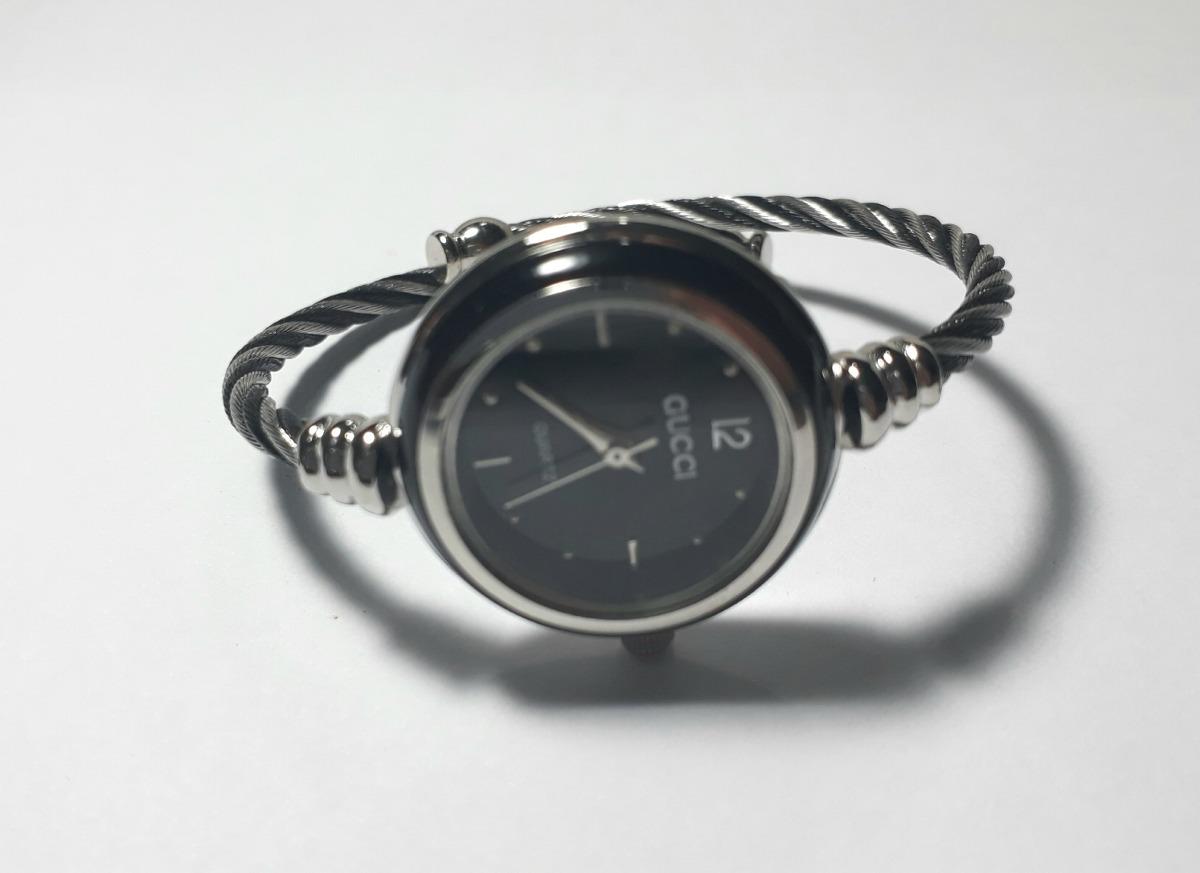 0b2b8519885 Relógio Feminino Gucci Prata preto Pulseira Aço Inox - R  69