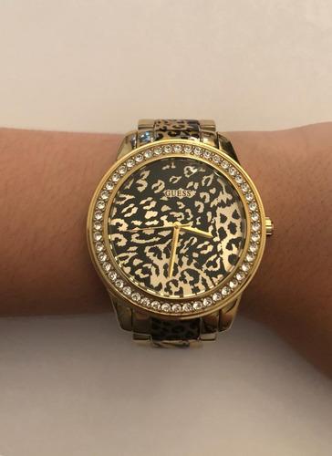 relógio feminino guess analógico onça com strass - original