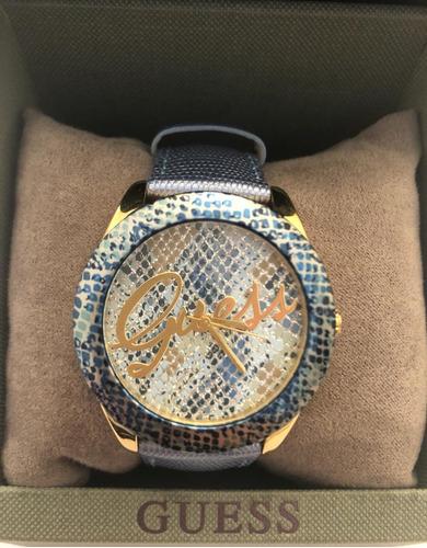 relógio feminino guess azul animal print de couro - original