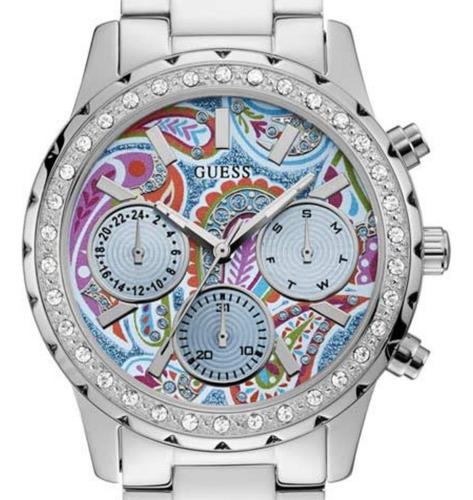 relógio feminino guess confetti 92695l0gsna1 análog prateado