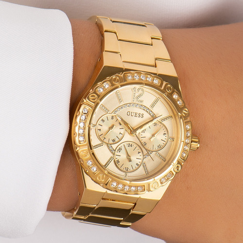 relógio feminino guess dourado original strass 92662lpgsda1