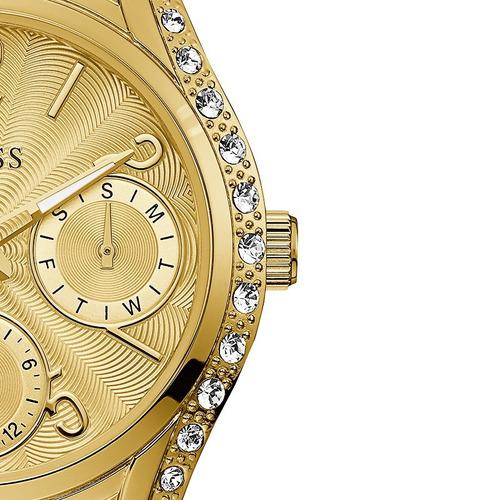relógio feminino guess dourado strass original 92667lpgsda1