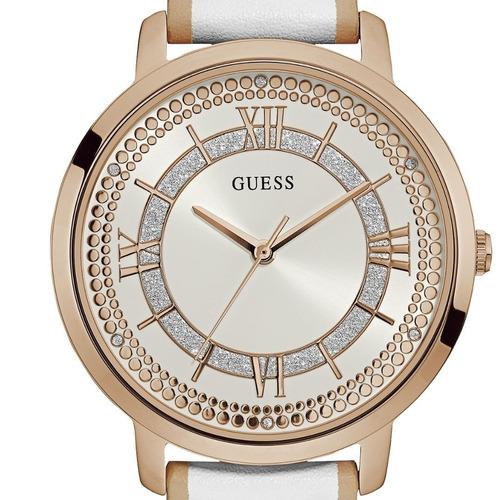relógio feminino guess pulseira branca 92635lpgdrc4 analógo