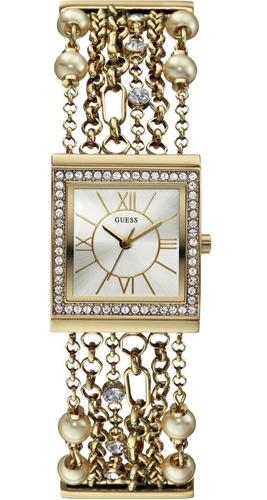 relógio feminino guess w0140l2 correntes perolas dourado