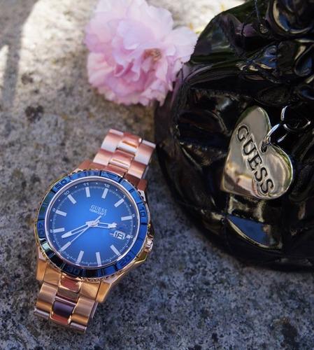 relógio feminino guess w0244g3 plugged rose original
