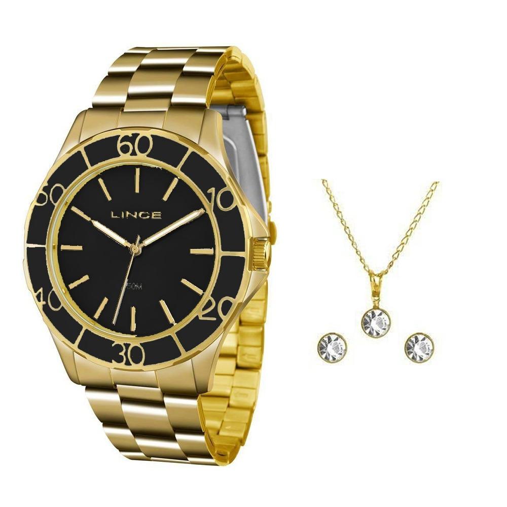 d52445bad63 Kit Relógio Feminino Lince Analógico Lrgj067l Ku96 - Dourado - R ...