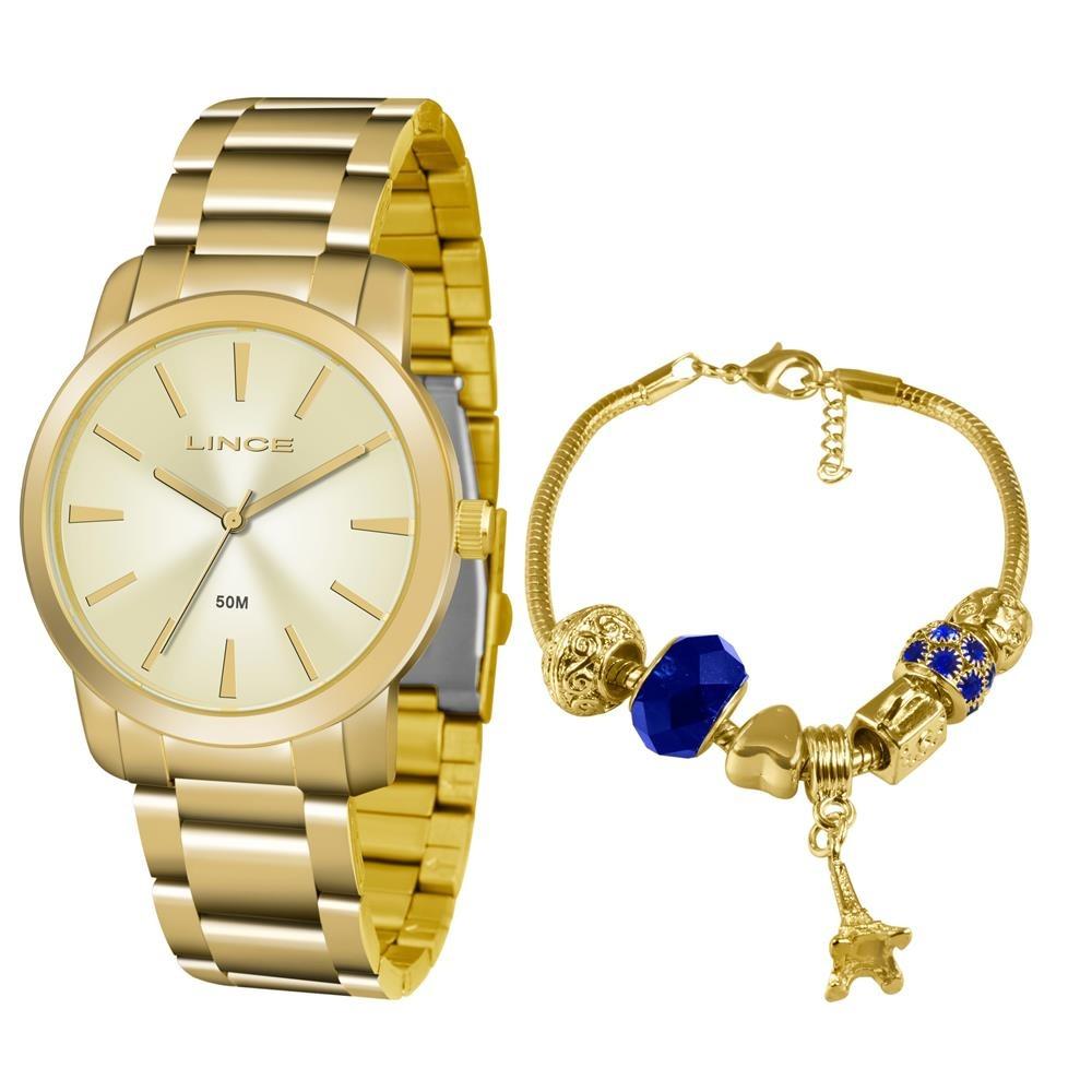Relógio Feminino Analógico Lince Lrg4506l Pulseira Dourado - R  192 ... 4a5c08607a