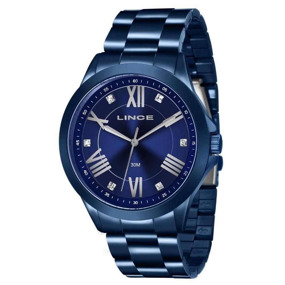 63eab290e32 Relógio Feminino Lince Lraj046-ld3dx 43 Mm Aço Azul - R  142
