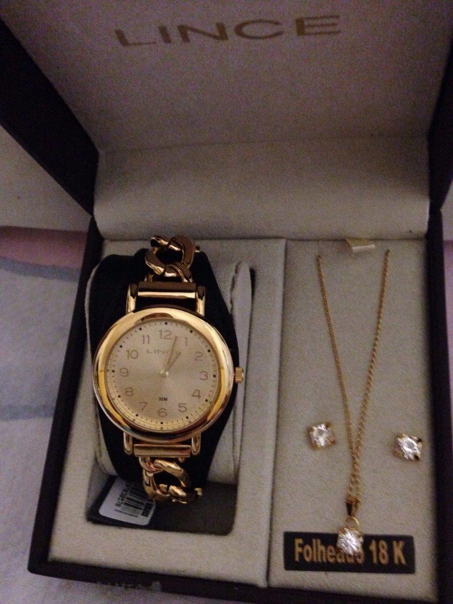 4b7b2a2269b relógio feminino lince analógico fashion + colar e brincos. Carregando zoom.