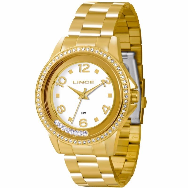 11bd1e7d043 Relógio Feminino Lince Dourado (orient) Lrg4245l Prova Dágua - R  228