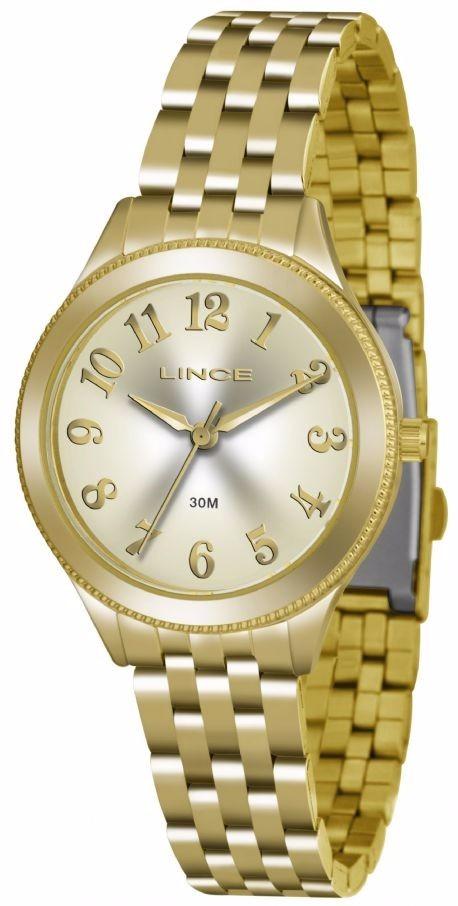 relógio feminino lince dourado tamanho médio fundo champanhe. Carregando  zoom. 27b8c9414d