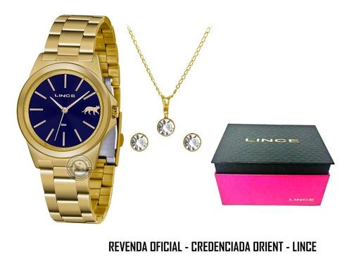 relógio feminino lince orient funny gold blue aço original