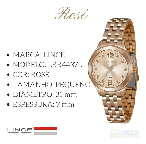 relógio feminino lince rosê modelo lrr4437l original