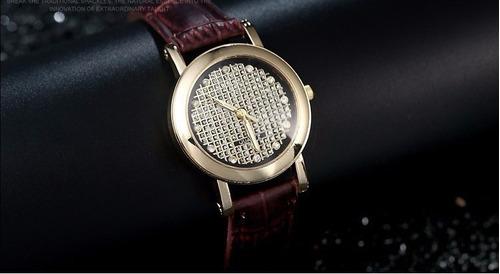 relogio feminino luxo cristais pulseira couro marrom ad1018