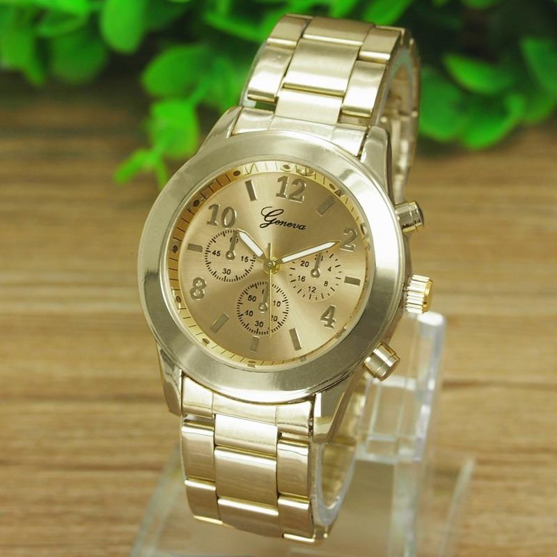 499cdc7ae04 relógio feminino luxo dourado genebra. Carregando zoom.