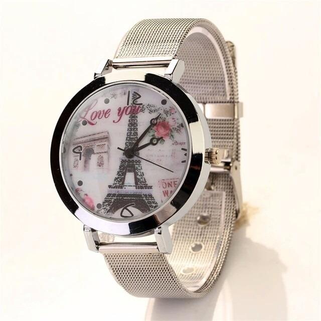 81b525c86c4 Relógio Feminino Luxo Prata Torre De Paris Aço Barato - R  25