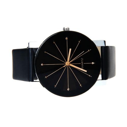 relógio feminino masculino preto casual pulseira couro lindo