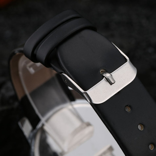 relógio feminino masculino preto pulseira couro luxo + estoj