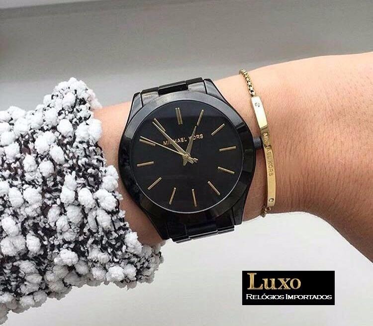 Relógio Feminino Michael Kors Mk3221 Preto, Original - R  570,00 em ... 76bd9de2cd
