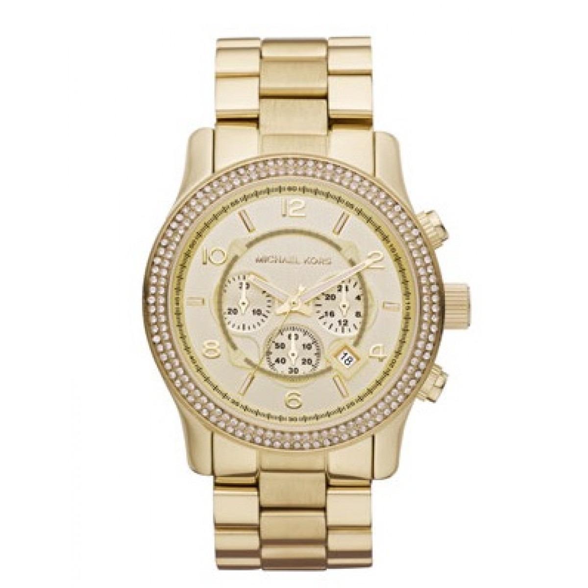 relógio feminino michael kors mk5575 dourado c strass 45mm. Carregando zoom. bd95cb87d0