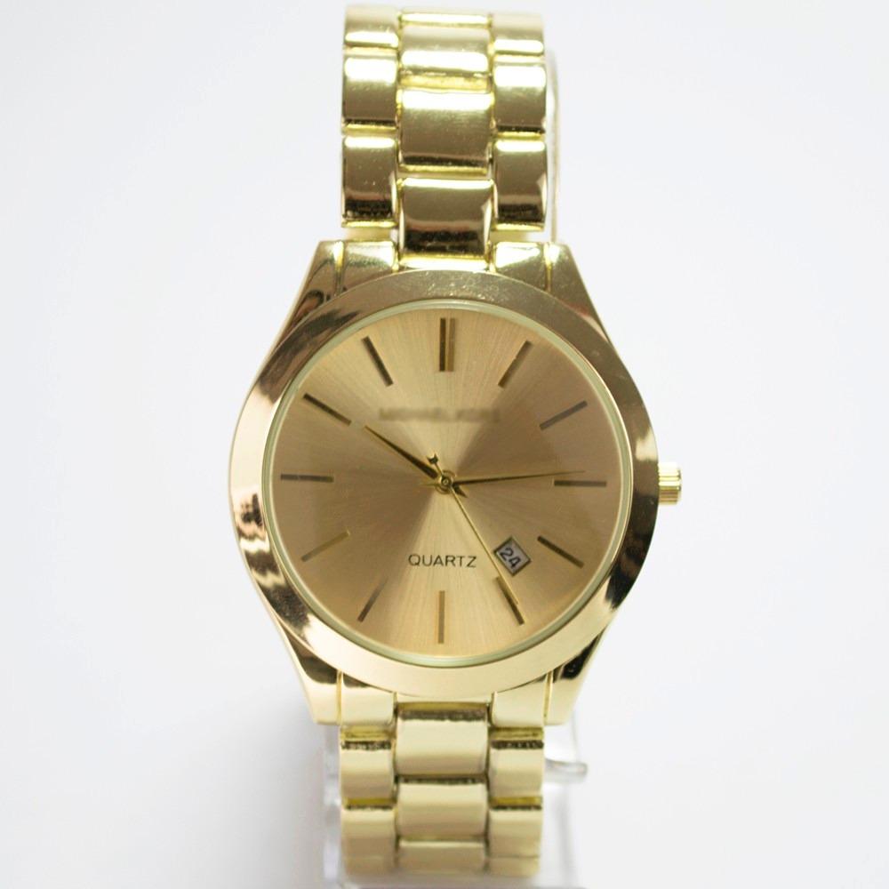 1f2ac4b7735 relógio feminino mk clássico dourado quartz aço calendário. Carregando zoom.