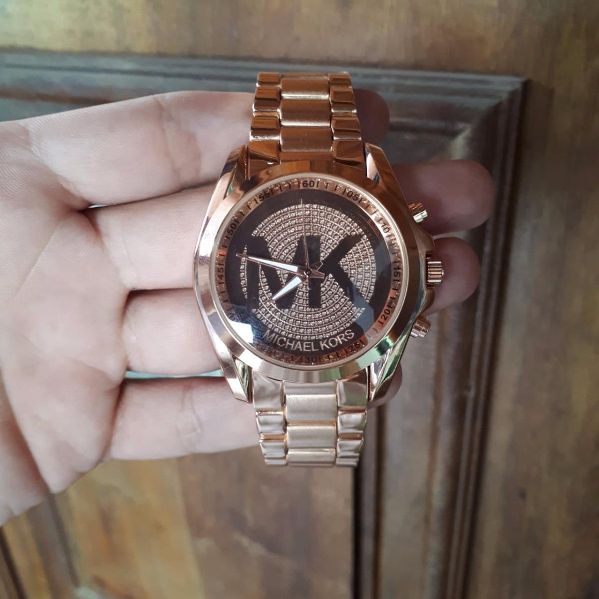 0fa5c5b36e7 relógio feminino mk michael kors dourado rose pedras + caixa. Carregando  zoom.