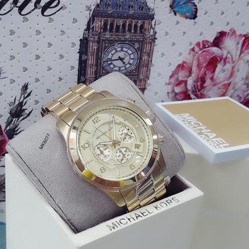 relógio feminino mk8077 dourado 100 serie 18k - michael kors