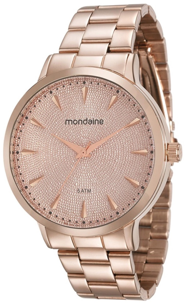 49f854a1598 Relógio Feminino Mondaine 76563lpmvre3 43mm Aço Rose - R  189