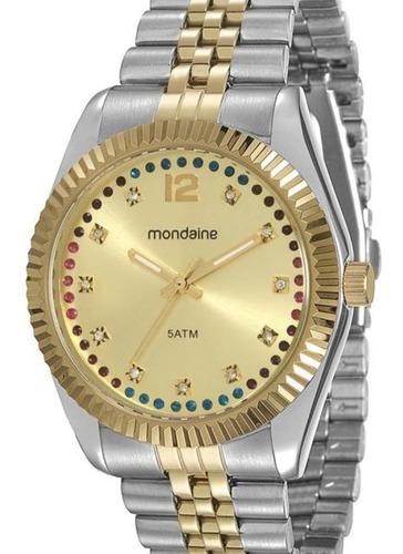 relógio feminino mondaine cintilante dourado á prova d'água