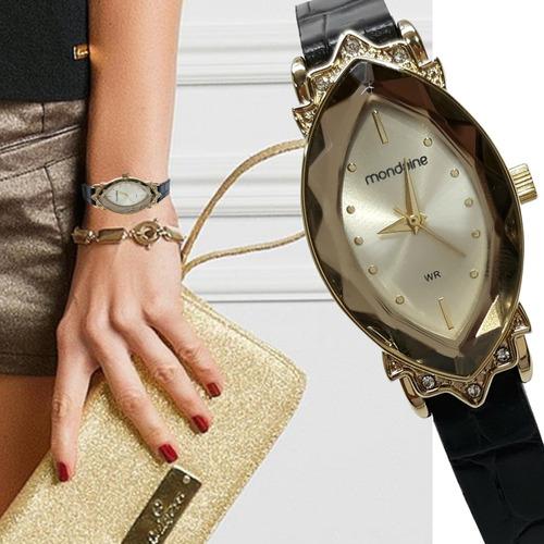 relógio feminino mondaine dourado original couro preto