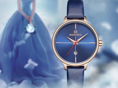 relogio feminino naviforce 5006 luxo original couro data