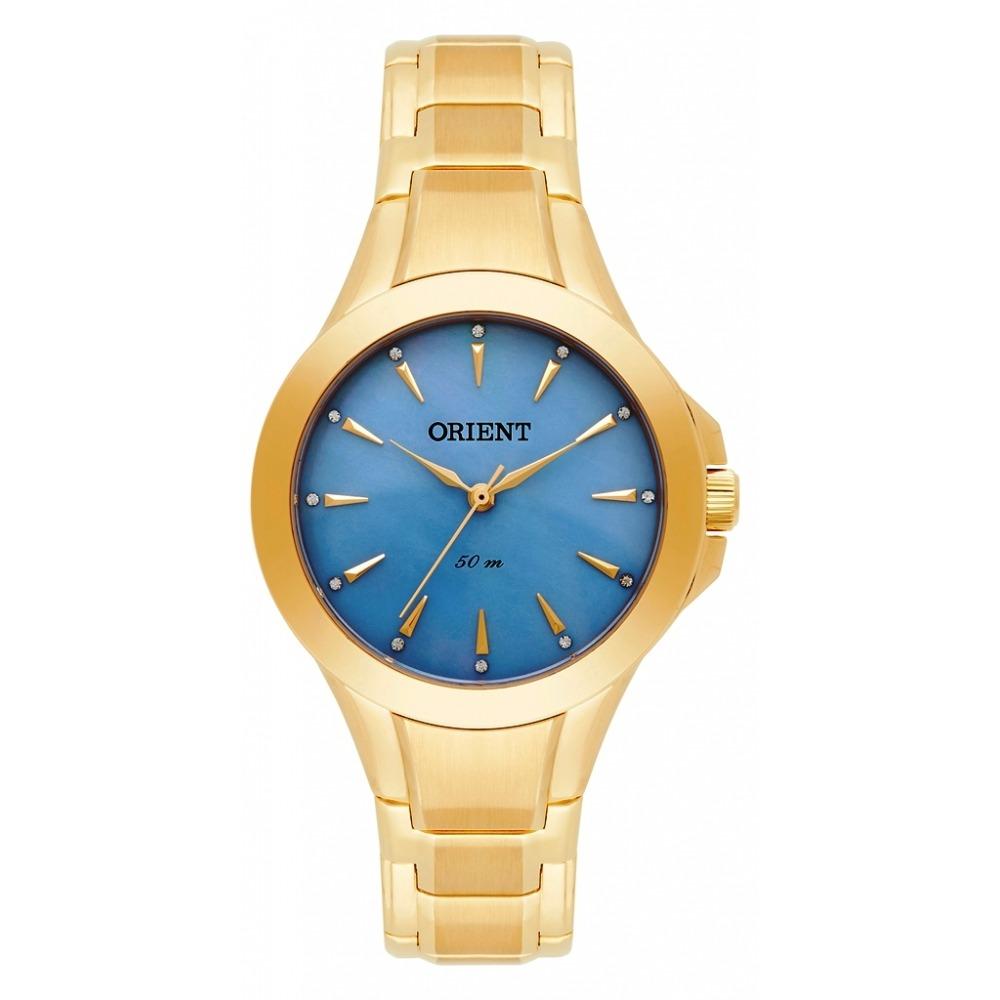 711e88d3ae7 Relogio Feminino Orient Dourado Com Fundo Azul - R  570
