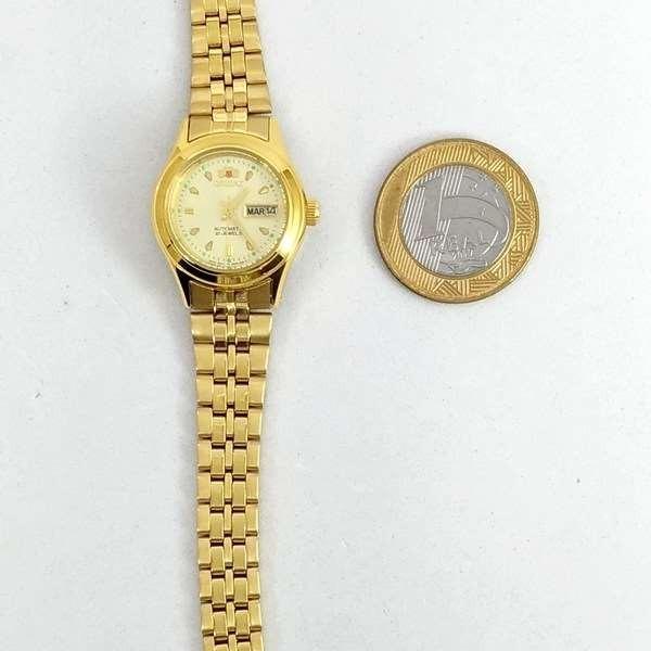 fnq0400bc9 relógio feminino orient mini automatico dourado · relógio  feminino orient mini 035c32fd93