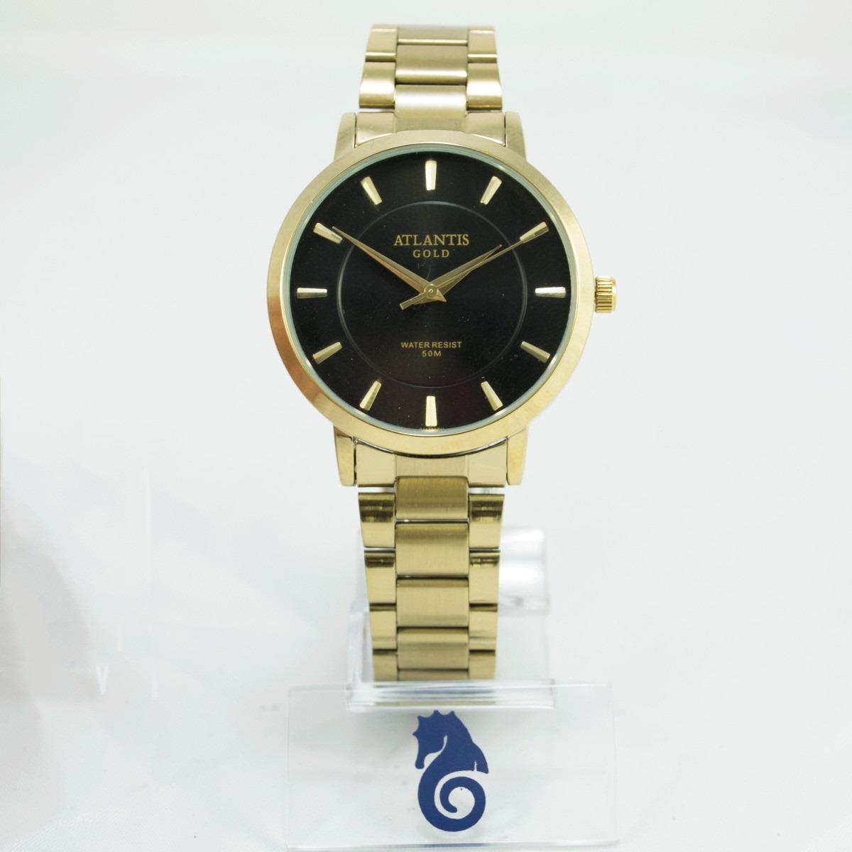 138af575e44 relógio feminino original atlantis dourado preto + caixa. Carregando zoom.