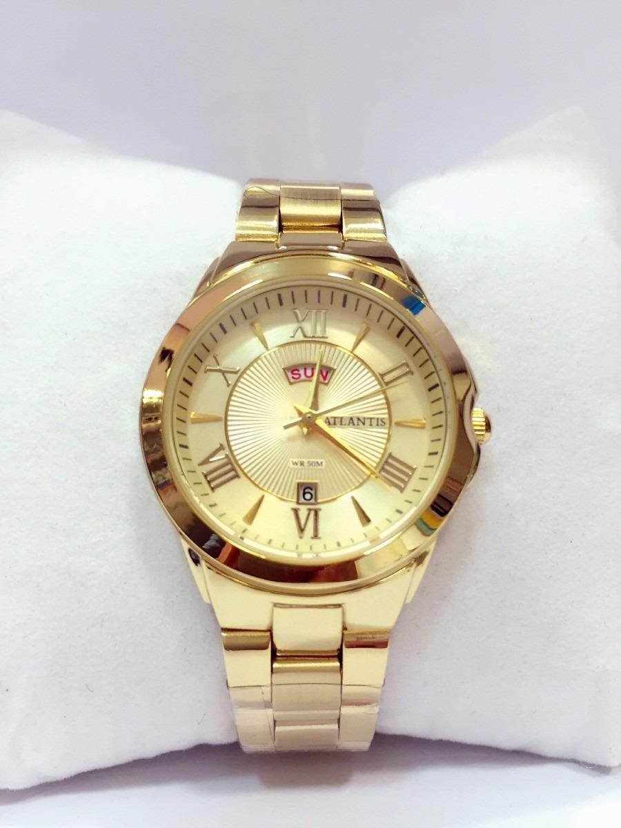69b9c7ed36a relógio feminino original atlantis dourado romanoscalendári. Carregando  zoom.