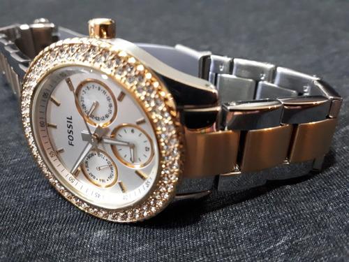 relógio feminino original fossil prata e dourado