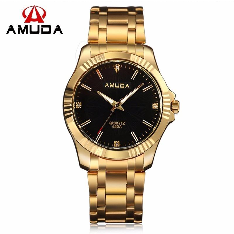 aa0148ebbdb Relógio Feminino Ouro Luxo Amuda Barato Original + Brinde - R  139 ...